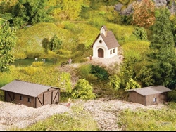 Noch 44315 Z Small Building Set Laser-Cut Kit Chapel and 2 Barns