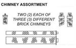 N Scale Architect 20004 N Chimney Assortment 2 Ornate 2 Shed Chimneys 2 Full-Length 716-20004