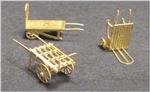 N Scale Architect 96618 N Luggage Carts Etched Brass Kit 3 Different Unpainted 716-96618