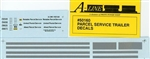 A Line 50160 HO Decals For 28' Parcel Trailers Parcel Service