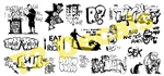 T2 Decals OSGRAF040 O Graffiti Decals Set #40