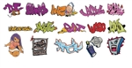 T2 Decals OSGRAF010 O Graffiti Decals Set #10