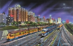 THS21385 Train Enthusiast Vendors Chicago Nights 1000pcs 90-21385