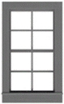 "Tichy 3537 S 4/4 Pane Double-Hung Window w/Precut Glazing 33 x 60"" Scale Pkg 6"