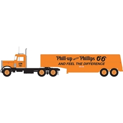 Trainworx 55122 N Peterbilt 351 Tractor w/32' Tank Trailer Assembled Phillips 66 Orange Black