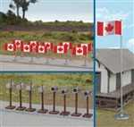 Walthers 4172 HO Flags (11) and Mailboxes (8) Canadian Flags 1965-Present
