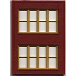 Woodland 30144 HO Modular Building System Two-Story Wall Sections w/Victorian Windows Kit Pkg(4)