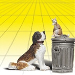Woodland A2524 G Dog w/Cat on Trashcan