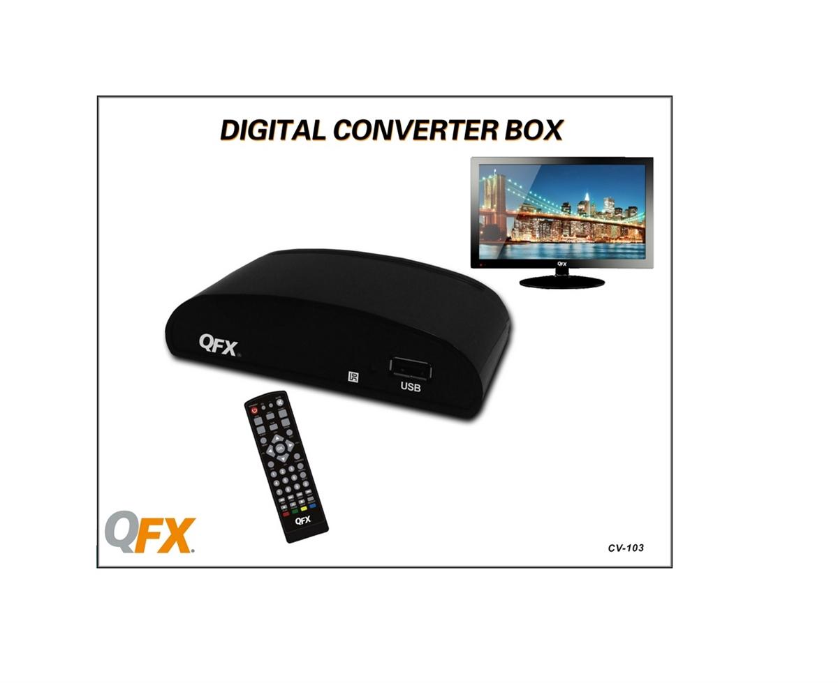 HDTV to Standard 480i//480p NEW QFX Digital TV Signal Converter Box  w// Remote