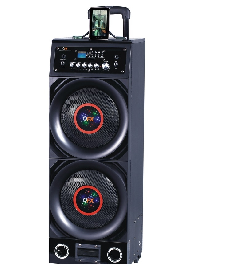 QFX PBX-9BT Portable PA Speaker with FM/USB/SD  IN/MIC/Remote/Bluetooth/LCD Display/Disco Light