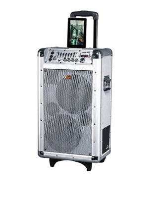 QFX PBX-3081BT Portable PA Speaker with FM/USB/SD/Microphone/Remote/LCD Display/7 Band Equalizer/Bluetooth
