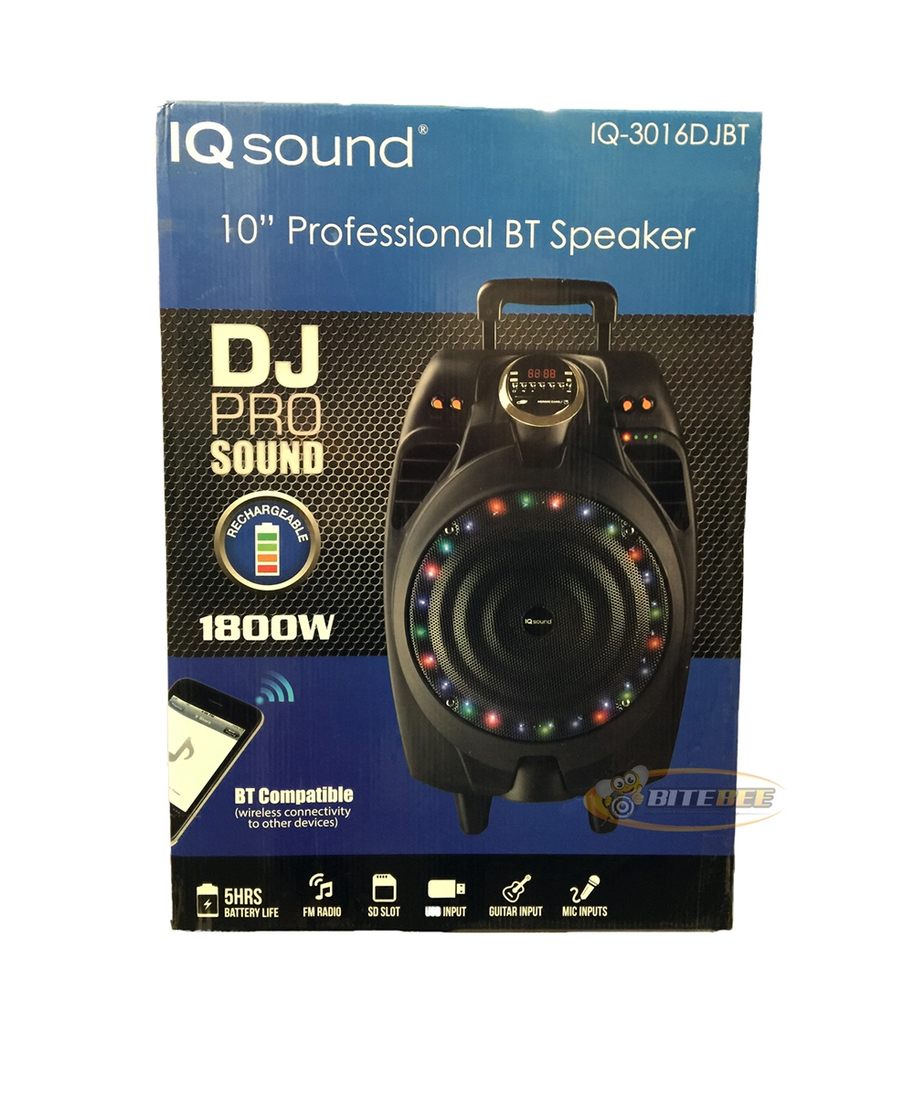 IQ Sound IQ-3016DJBT Rechargeable 1800W PA System  Bluetooth/FM/USB/SD/Remote/Mic