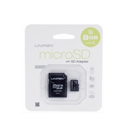 Unirex MSD-082 8GB Class 4 MicroSD High Capacity Card with SD Adapter