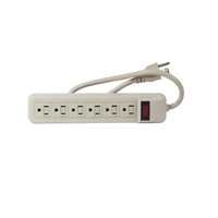 Uninex PS07U 6 Outlet Heavy Duty Power Strip - WHITE