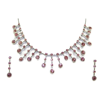 Pink Designer Spiky Swarovski Crystals Necklace + Earring set