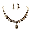 Swarovski Crystals/Tiger Shell Necklace+Earrings Set