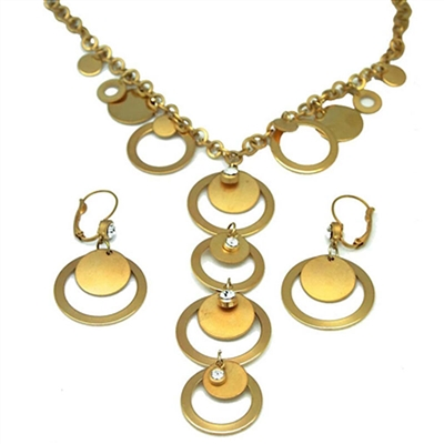 Gold Circle of Life Design Swarovski Crystals Necklace+Earring set