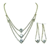 Square Diamonte Necklace + Earring Set