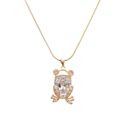Gold Frog Designer Swarovski Crystals Necklace