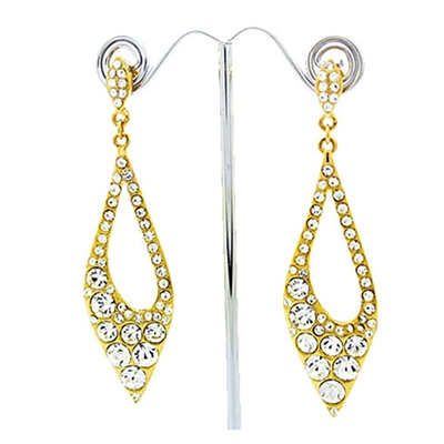 Gold Long Elegant Swarovski Crystals Earrings