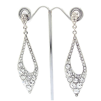 Silver Long Elegant Swarovski Crystals Earrings