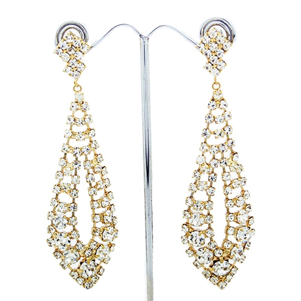 Gold Gatsby Style Long Swarovski Crystals Earrings