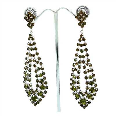 Olivine Gatsby Style Long Swarovski Crystals Earrings