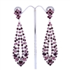 Purple Gatsby Style Long Swarovski Crystals Earrings