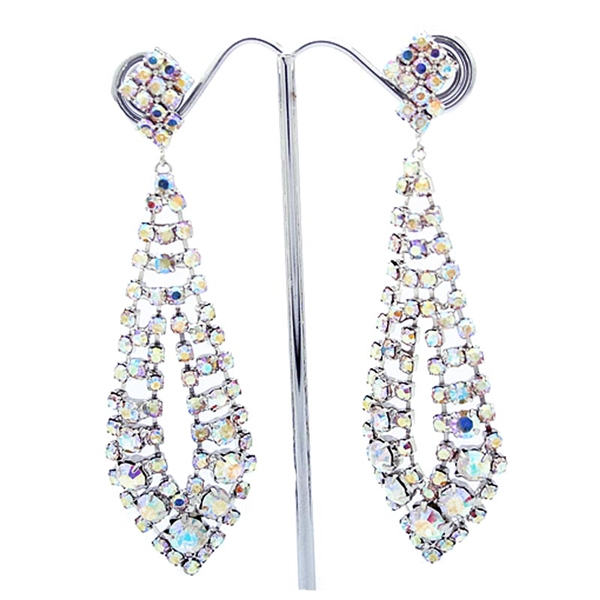 Silver Gatsby Style Long Swarovski Crystals Earrings