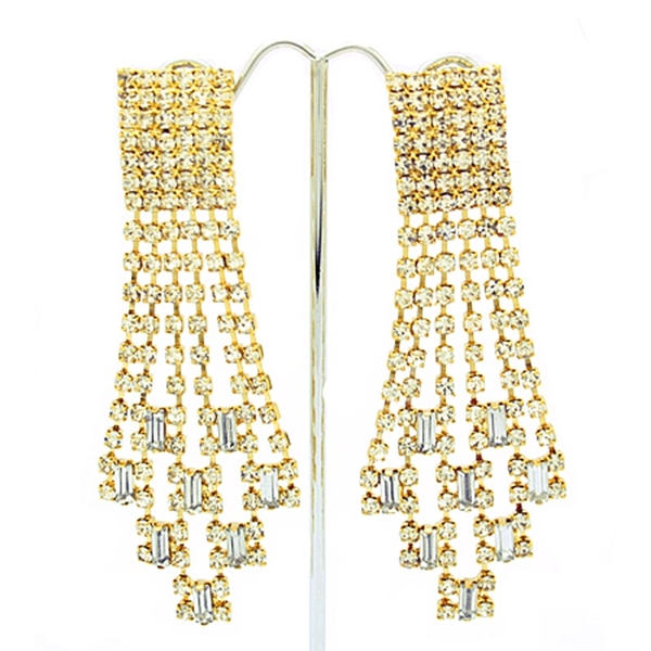 Gold Extravagant Gatsby Swarovski Crystals Clip-On Earrings