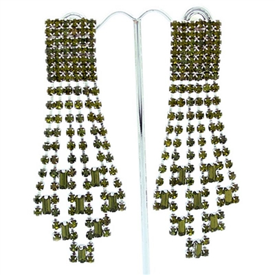 Olivine Extravagant Gatsby Swarovski Crystals Clip-On Earrings