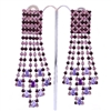 Purple Extravagant Gatsby Swarovski Crystals Clip-On Earrings