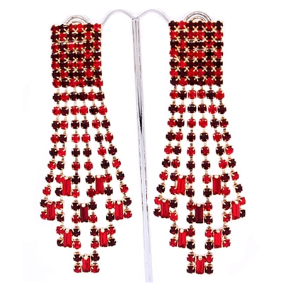 Red Extravagant Gatsby Swarovski Crystals Clip-On Earrings