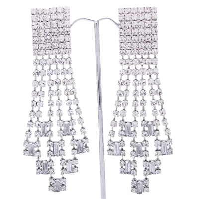 Silver Extravagant Gatsby Swarovski Crystals Clip-On Earrings