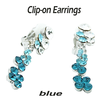 Blue Zircon Dangle Swarovski Crystals Clip-on Earrings