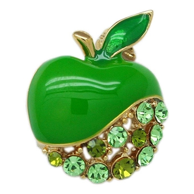 Green Swarovski Crystals Small Apple Brooch