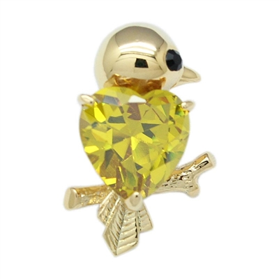 Gold Swarovski Crystals Lovely Parrot Brooch