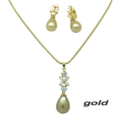 Mother of Pearl Necklace & Clip-on Earrings Set