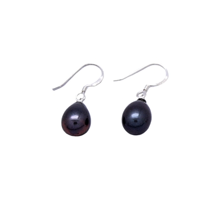 Grey Teardrop Freshwater Pearl Earrings 925 Sterling Silver