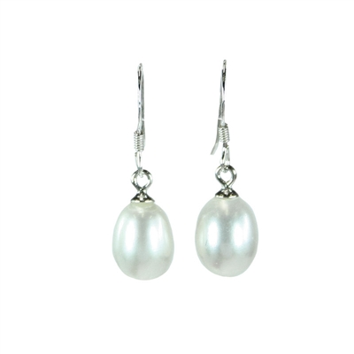 White Medium Teardrop Freshwater Pearl Earrings 925 Sterling Silver