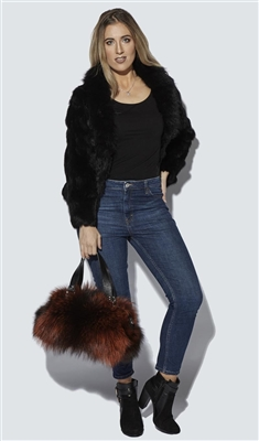 Rabbit Fur Tailored Fit Jacket Raccoon Fur Collar Black