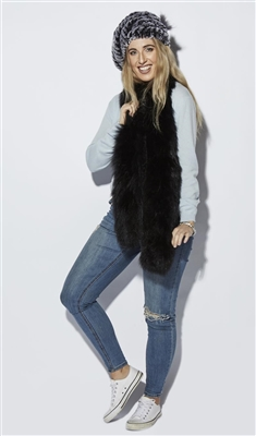 Luxury Fox Fur Knitted Long Straight Scarf Black