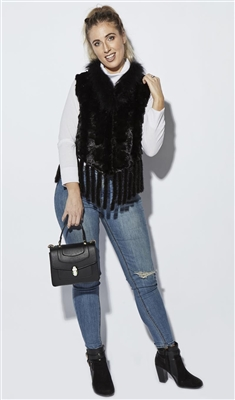 Black Mink Vest with Fringe