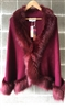 Pashmina Faux Fur Short Cape Burgundy