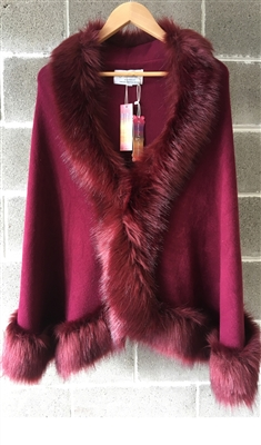 NEW ARRIVAL Burgundy Pashmina Faux Fur Cape