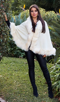 Cream Pashmina Faux Fur Cape