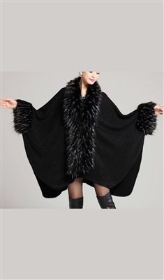 Luxury Pashmina Faux Fur Long Cape Black