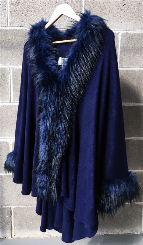 Luxury Pashmina Faux Fur Long Cape Navy