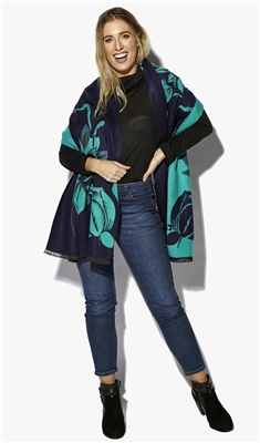 Designer Floral Pashmina Shawl Double Sided - Navy/Teal