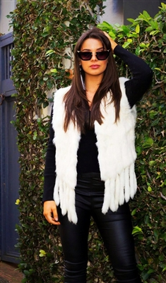 Cream Rabbit Fur Vest with Fringe